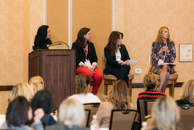 "Philana (left) leads ""Women in Wholesale: Taking Charge of Your Future"" panel at Women of the Vine & Spirits Global Symposium."